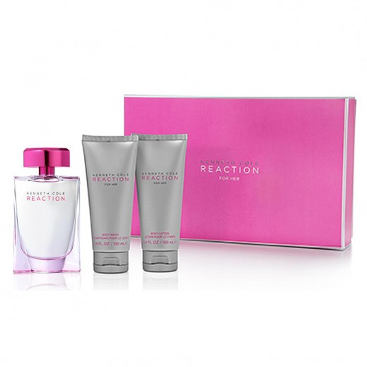 Kenneth Cole Reaction Gift Set For Her EDP 100 ml + Body Lotion 100 ml + Shower Gel 100 ml - delivered by Beidoun