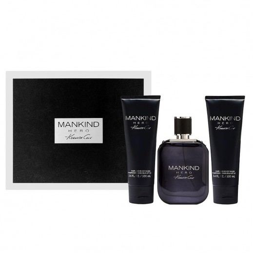 Kenneth Cole Mankind Hero Gift Set For Him EDT 100 ml + After Shave 100 ml + Hair And Body Wash 100 ml - delivered by Beidoun after 3 Working Days