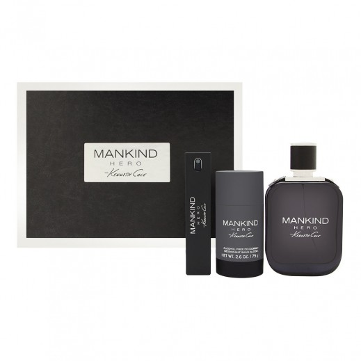 Kenneth Cole Mankind Hero Gift Set For Him EDT 100 ml + Mini 15 ml + Deodorant 75 ml - delivered by Beidoun