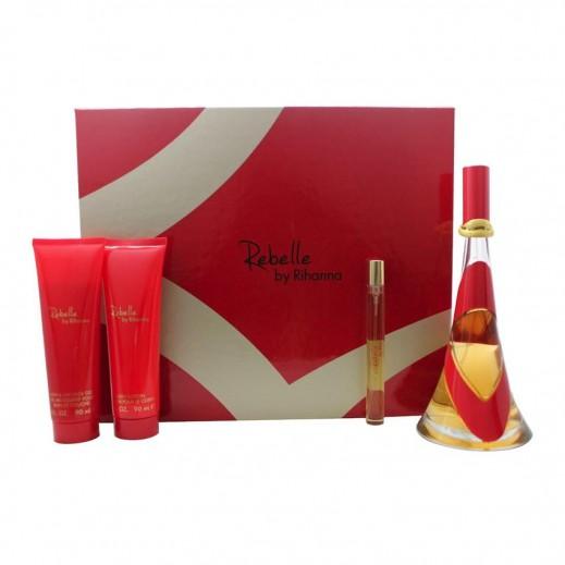 Rihanna Rebelle Gift Set For Her EDP 100 ml + EDP 15 ml + Body Lotion 90 ml + Body Shower Gel 90 ml - delivered by Beidoun