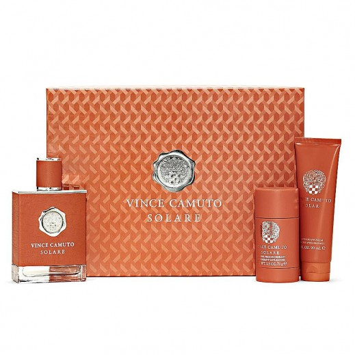 Vince Camuto Solare Gift Set For Him EDT 100 ml + Deodorant 75 ml + After Shave 90 ml - delivered by Beidoun Within 2 Working Days