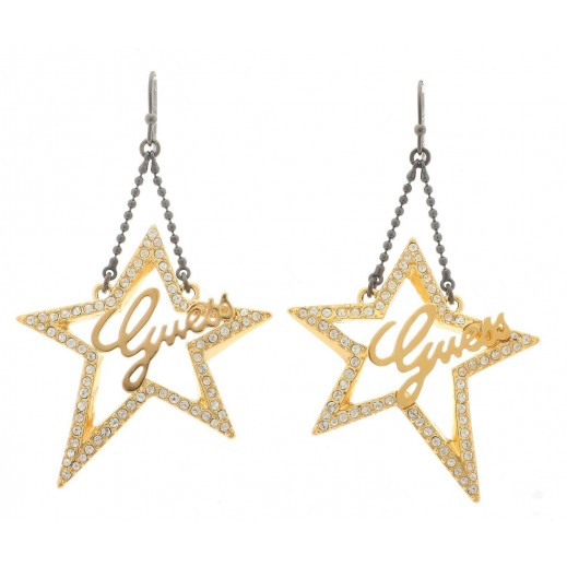 Guess Open Star Shaped Dangling Earrings Gold Color - delivered by Beidoun