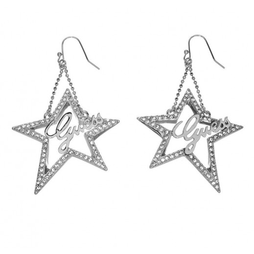 Guess Open Star Shaped Dangling Earrings Silver Color - delivered by Beidoun
