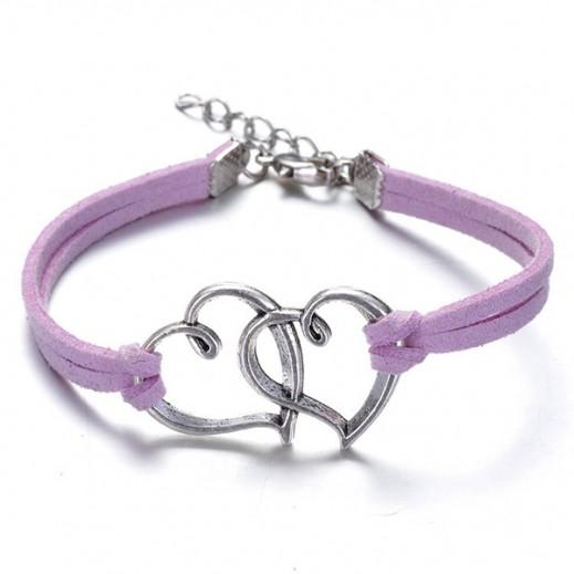 Helen Double Heart leather Purple Bracelet, M00734