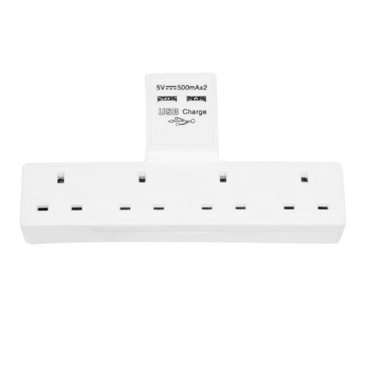 Eastern 4 Way Wall Mount Extension with 2 USB Port 1A – White