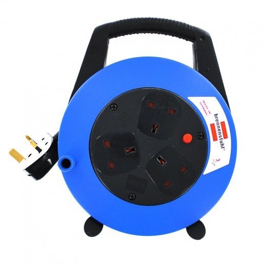 Brennenstuhl 3 Way UK Style Cable Reel Extension 10m