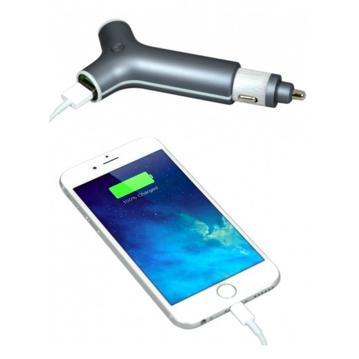 PORT Designs 2.4A Car Charger with integrated 2200 mAh Power Bank - Gray