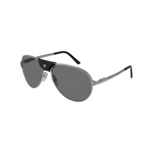 Cartier Santos Ruthenium Aviator Black Lenses Men Sunglasses - delivered by Waleed Optics