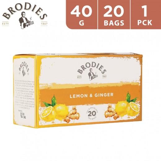 Brodies Lemon & Ginger Tea 40 g (20 Teabags)