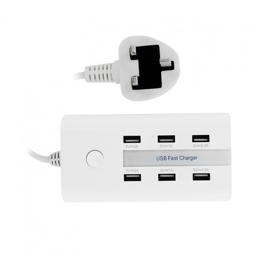 Multi-Function 6 USB Port Charger - White