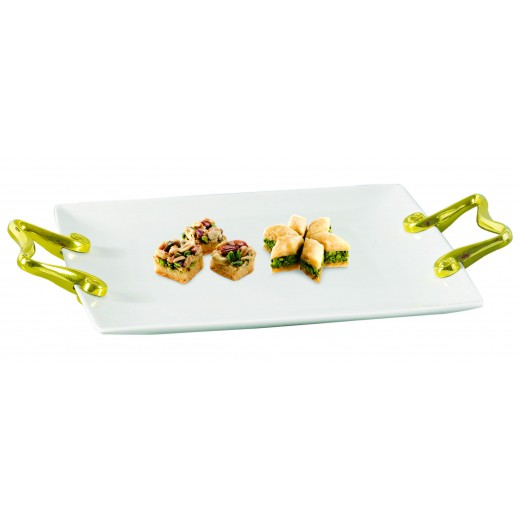 Ceramic Serving Tray with Golden Handle 26 cm