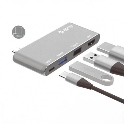 Devia 4-in-1 USB-C HUB – Grey