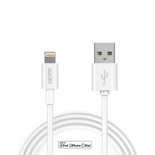 Aukey 3m Lightning Cable Data / Sync / Charging for iPhones White