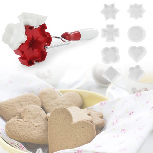 Rolling Cookie Cutter with 8 Interchangeable Cutters