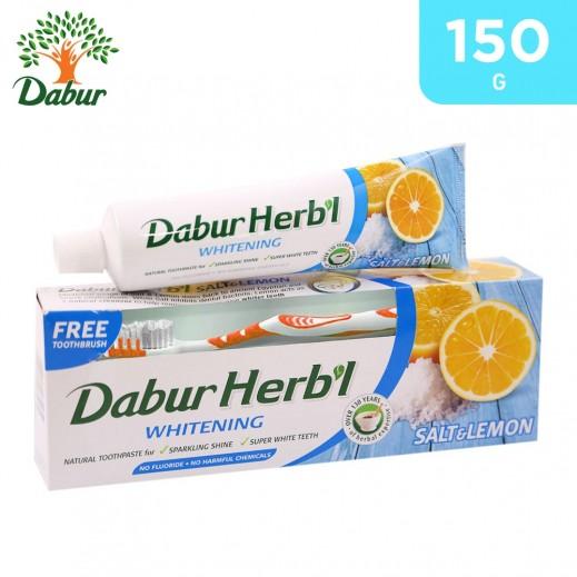 Dabur Herbal Whitening (Salt & Lemon) Toothpaste 150 g + Toothbrush Free