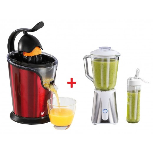 Domo Clip 2 in 1 Glass Blender 1 Ltr 350 W + Domo Clip Electric Citrus Juicer