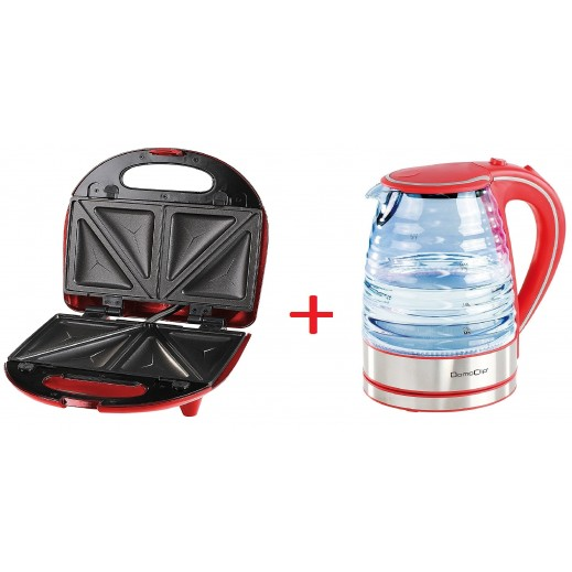 Domo Clip Electric Glass Kettle 1.7 L + Domo Clip 3 in 1 Sandwich Grill & Waffle Maker
