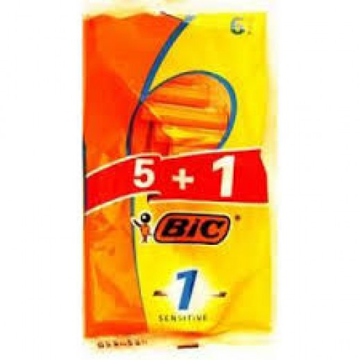 Bic Sensitive Men Razor 5 + 1 Free Prom