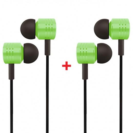 Buy 1 Get 1 Free  In-Ear 3.5mm Jack Headset Handsfree Green