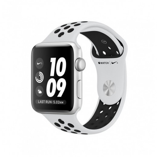 Apple Watch Nike+ Series 3 42mm Silver Aluminum Case and Pure Platinum Black Nike Sport Band Smartwatch