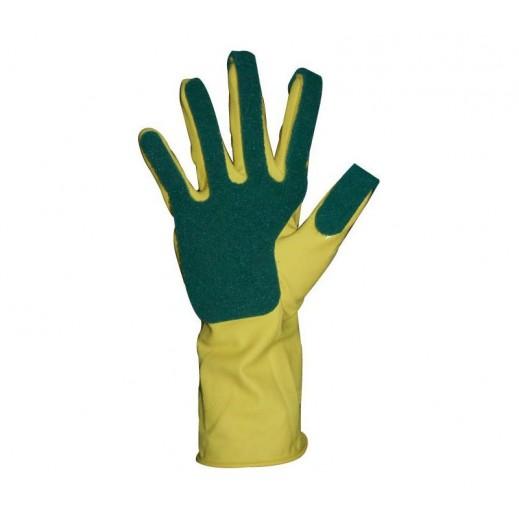 Duraglove Latex Gloves with Green Scourer - 1 Pair