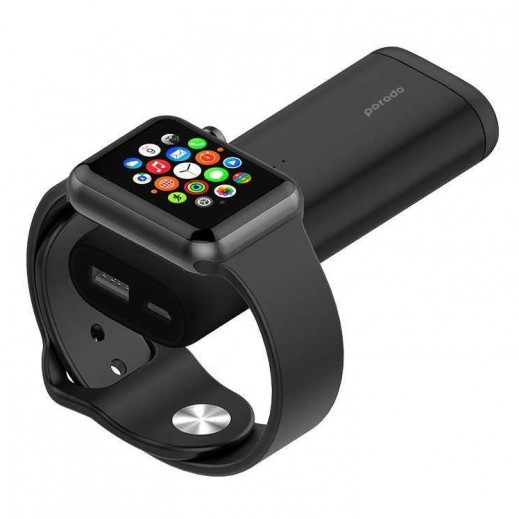 Porodo 5200 mAh 2 in 1 Power Bank & Apple Watch Charger - Black