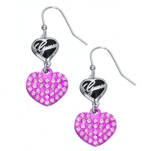 Guess Double Heart Drop Earrings Pink - delivered by Beidoun after 4 Working Days