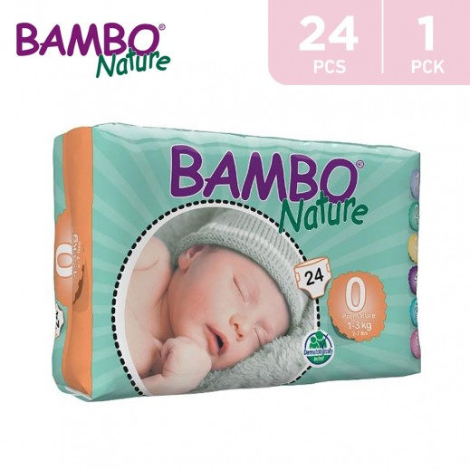 Bambo Nature Diapers Size 0 (1-3 Kg) 24 Pieces