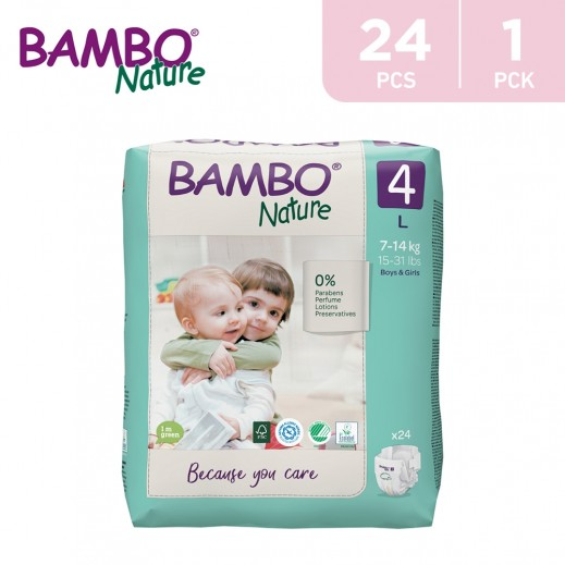 Bambo Nature Diapers Size 4 Large (7-14 Kg) 24 Pieces