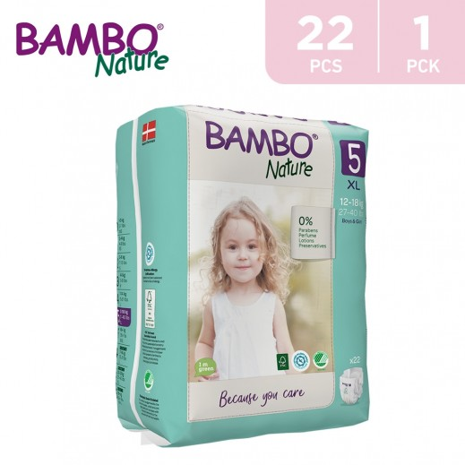Bambo Nature Diapers Size 5 XLarge (12-18 Kg) 22 Pieces