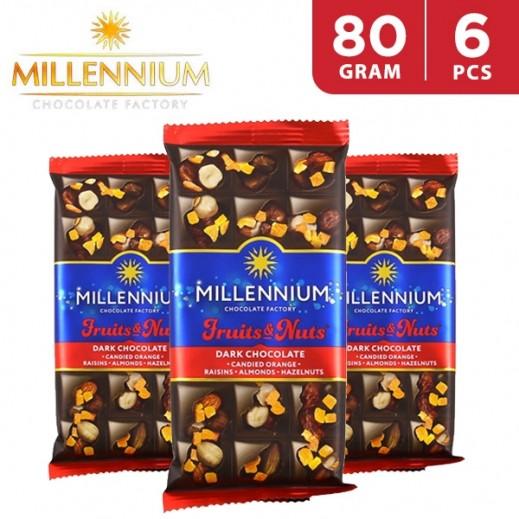 Millennium Dark Chocolate w/ Almond Whole Hazelnuts Candied Orange Peel & Raisins 6 x 80 g
