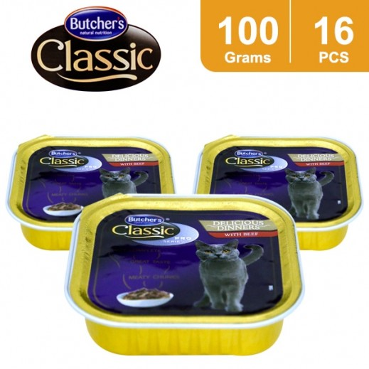 Wholesale - Butchers Classic Pro Series Delicious Dinner With Beef Cat Food 16 x 100 g
