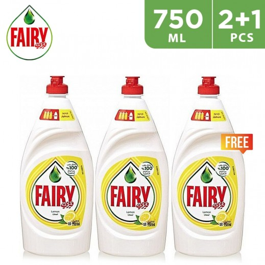 Fairy Dish Wash Liquid With Lemon 750 ml (2+1 Free)