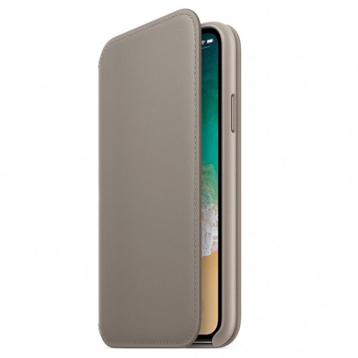 Folio Case for iPhone X Leather Folio Book – Charcoal Grey
