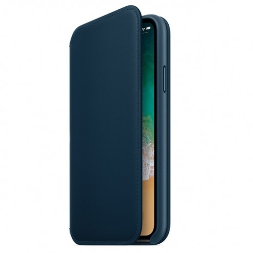 Folio Case for Iphone X Leather Folio Book - Midnight Blue