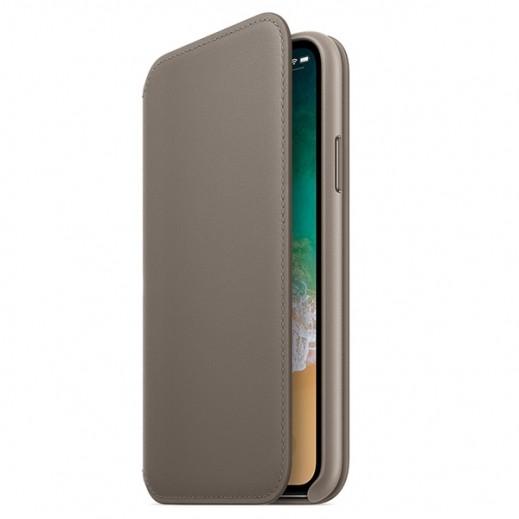Folio Case for iPhone X Leather Folio Book – Taupe