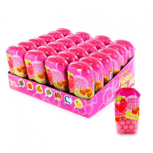 Lotte Coated Bubble Gum Strawberry Flavour 24 x 15 g