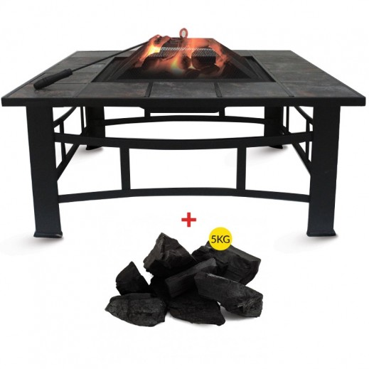 Metallic Tiled Multi Function Square Fire Pit + African Charcoal Bag 5 kg Free