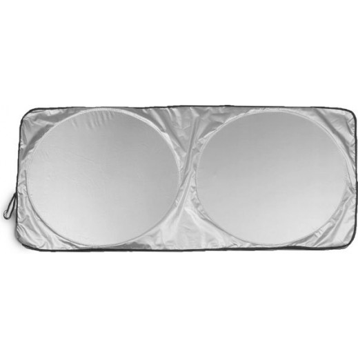 Xcessories – Round Foldable Sunshade for Car Windshields – Silver