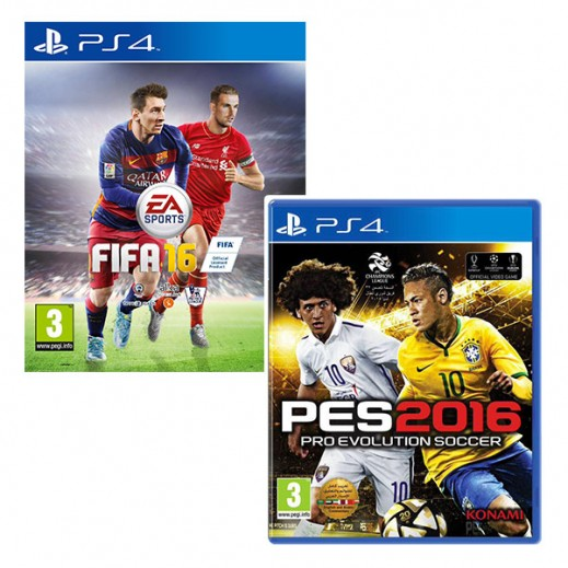FIFA 16 for PS4 With Arabic Commentary - PAL + Pro Evolution Soccer 2016 for PS4 With Arabic Commentary - PAL