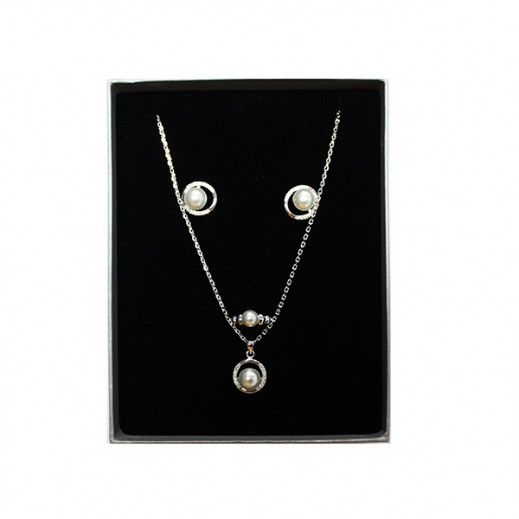 Annaby Silver Plated Circle Pearl Jewellery Set GJWMGST009