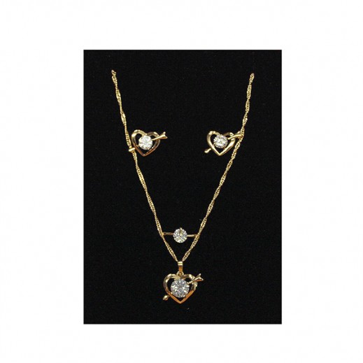 Annaby 14k Gold Plated Stone With Heart Jewellery Set GJWMGST013
