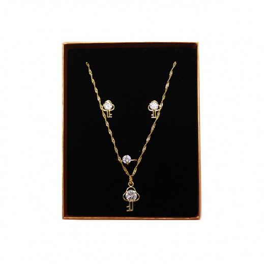 Annaby 14k Gold Plated Stone With Key Jewellery Set GJWMGST014