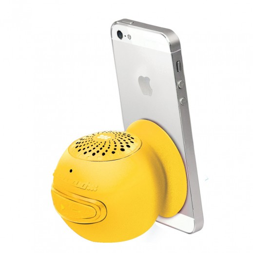 Promate Globo-2 Universal Wireless 3.0 Mini Speaker with In-Built Mic and Vacuum Base Yellow