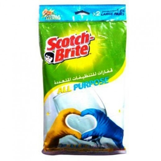 Scotch-Brite Vanilla Scented Multi Purpose Glove Large - 2 Pairs (Value Pack)