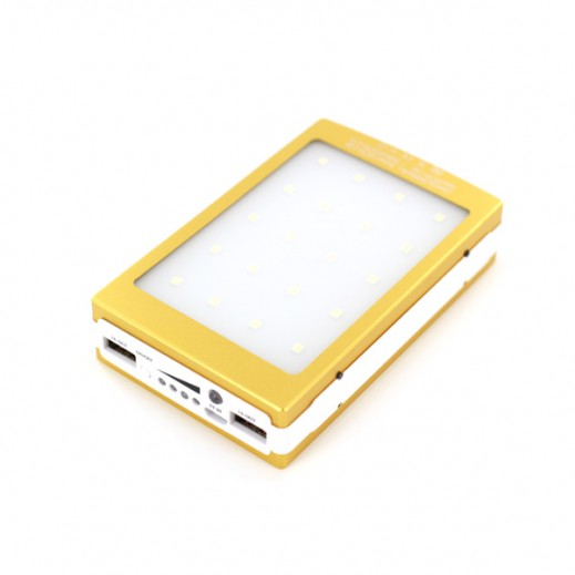 50000mAh Dual USB Portable Solar Battery Charger Power Bank - Gold