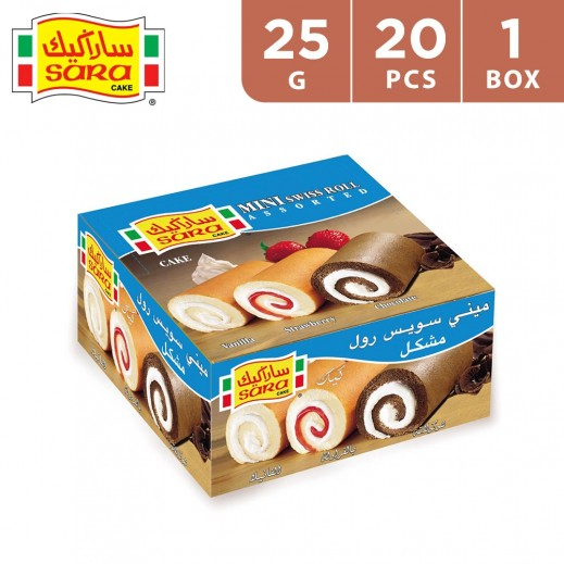 Sara Cake Mini Swiss Roll Assorted Vanilla,Strawberry, Chocolate Cake 20 x 25 g