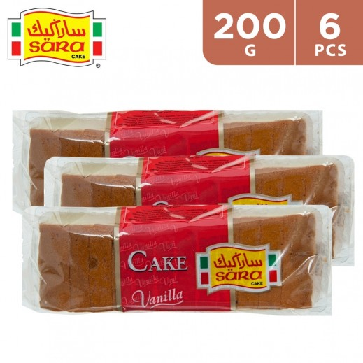 Sara Cake Vanilla Sliced Bar Cake 6 x 200 g