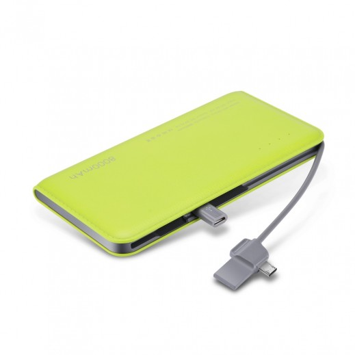 WST Portable Leather Texture Power Bank Battery 8000mAh Green