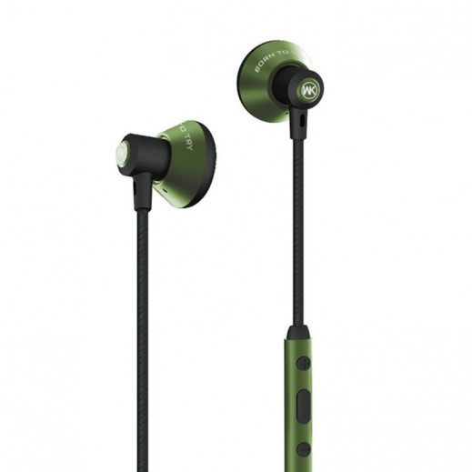 WK Design Wired Earphones with Microphone 1.2 M – Green